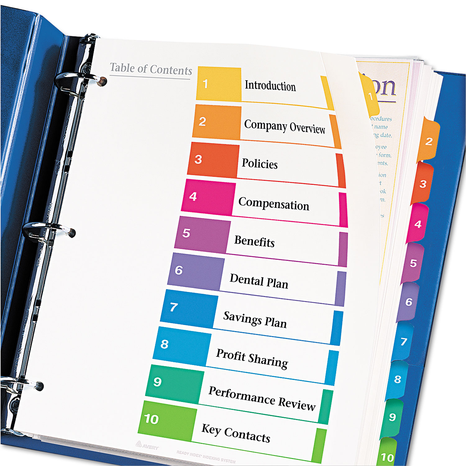 Ready Index Customizable Table Of Contents By Avery Ave11165