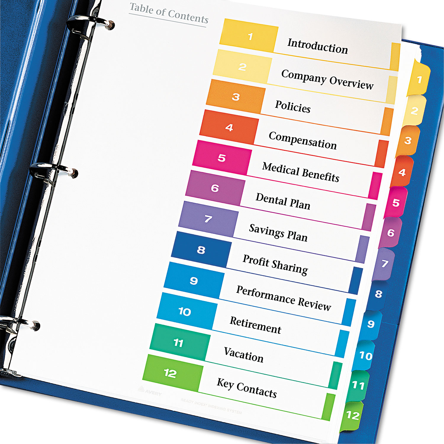 Ready Index Customizable Table of Contents by Avery® AVE11196 ...