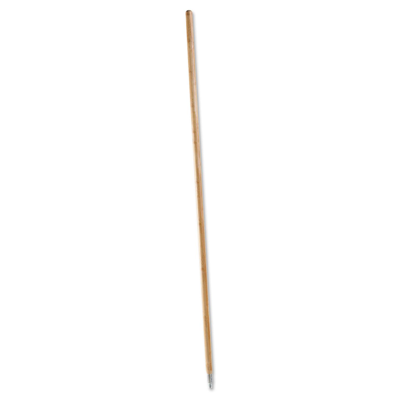 Metal Tip Threaded Hardwood Broom Handle, 1 1/8 dia x 60, Natural