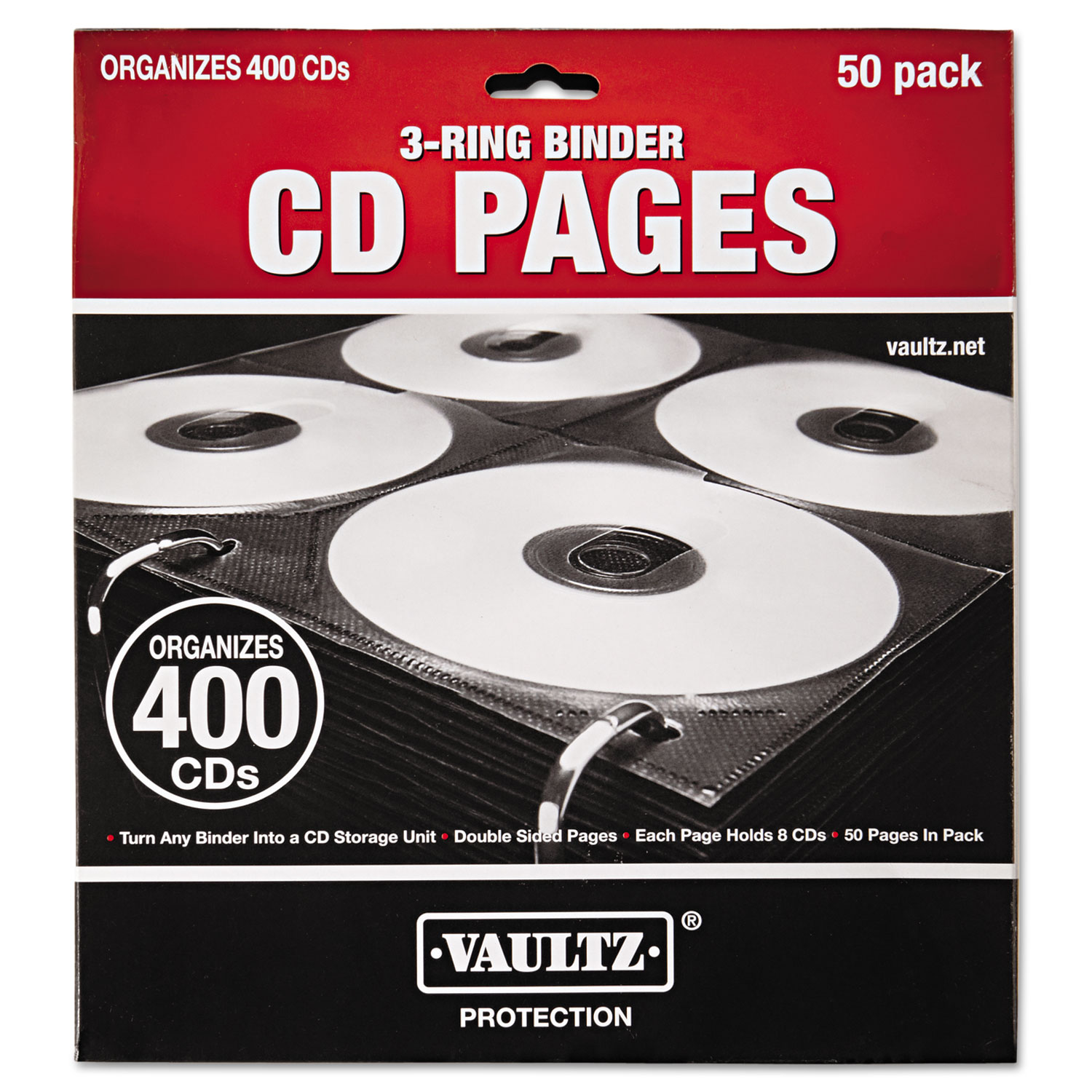 IDEVZ01415 Vaultz Two-Sided CD Refill Pages For Three-Ring