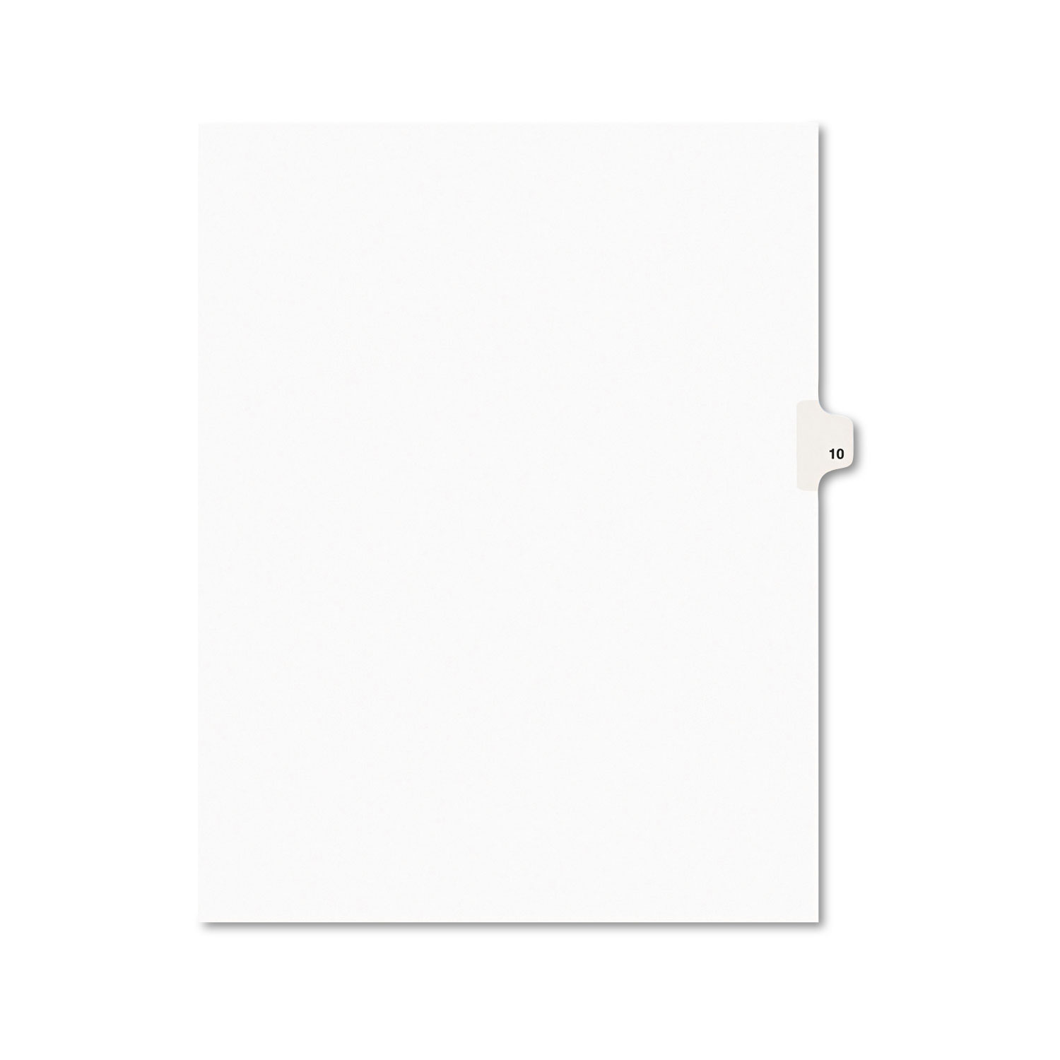 Preprinted Legal Exhibit Side Tab Index Dividers, Avery Style, 10-Tab, 10, 11 x 8.5, White, 25/Pack