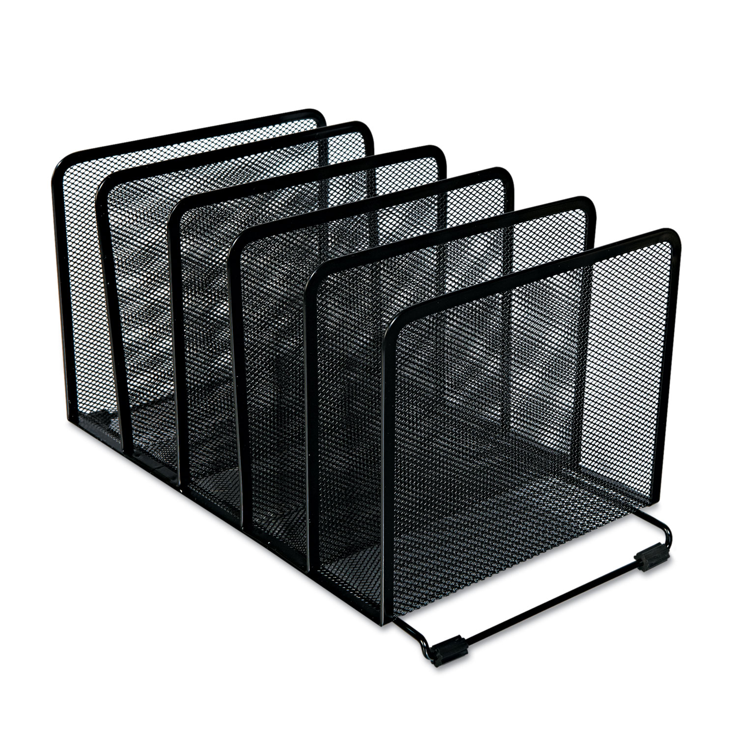 """Deluxe Mesh Stacking Sorter, 5 Sections, Letter to Legal Size Files, 14.63"""" x 8.13"""" x 7.5"""", Black"""