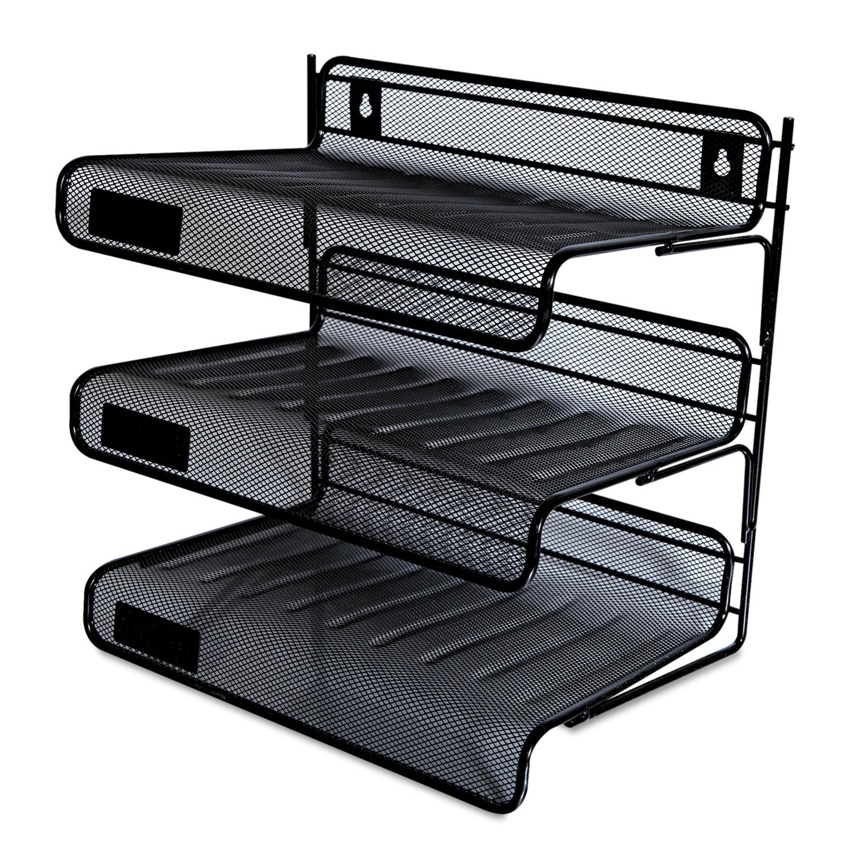 Tremendous Mesh Three Tier Desk Shelf Letter Black Interior Design Ideas Grebswwsoteloinfo