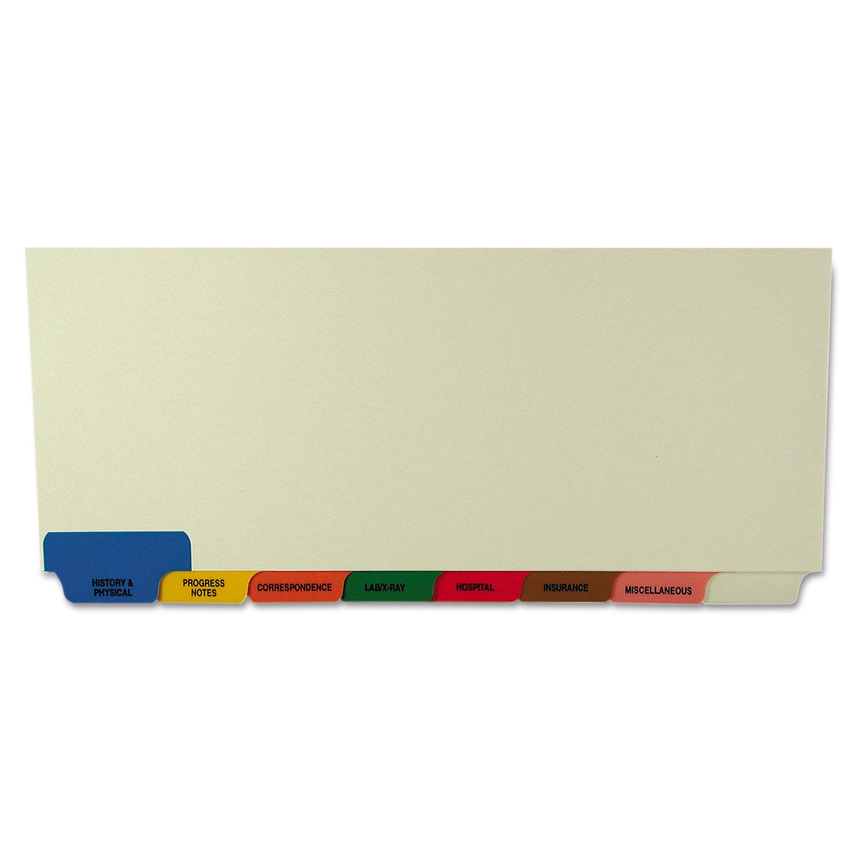 Bottom Tab Medical Chart Divider Sets, 8-Tab, Assorted Medical, 11.38 x 8.5, Manila, 40 Sets