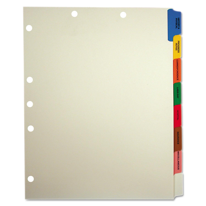 Side Tab Medical Chart Divider Sets, 8-Tab, Assorted Medical, 11 x 9, Manila, 40 Sets