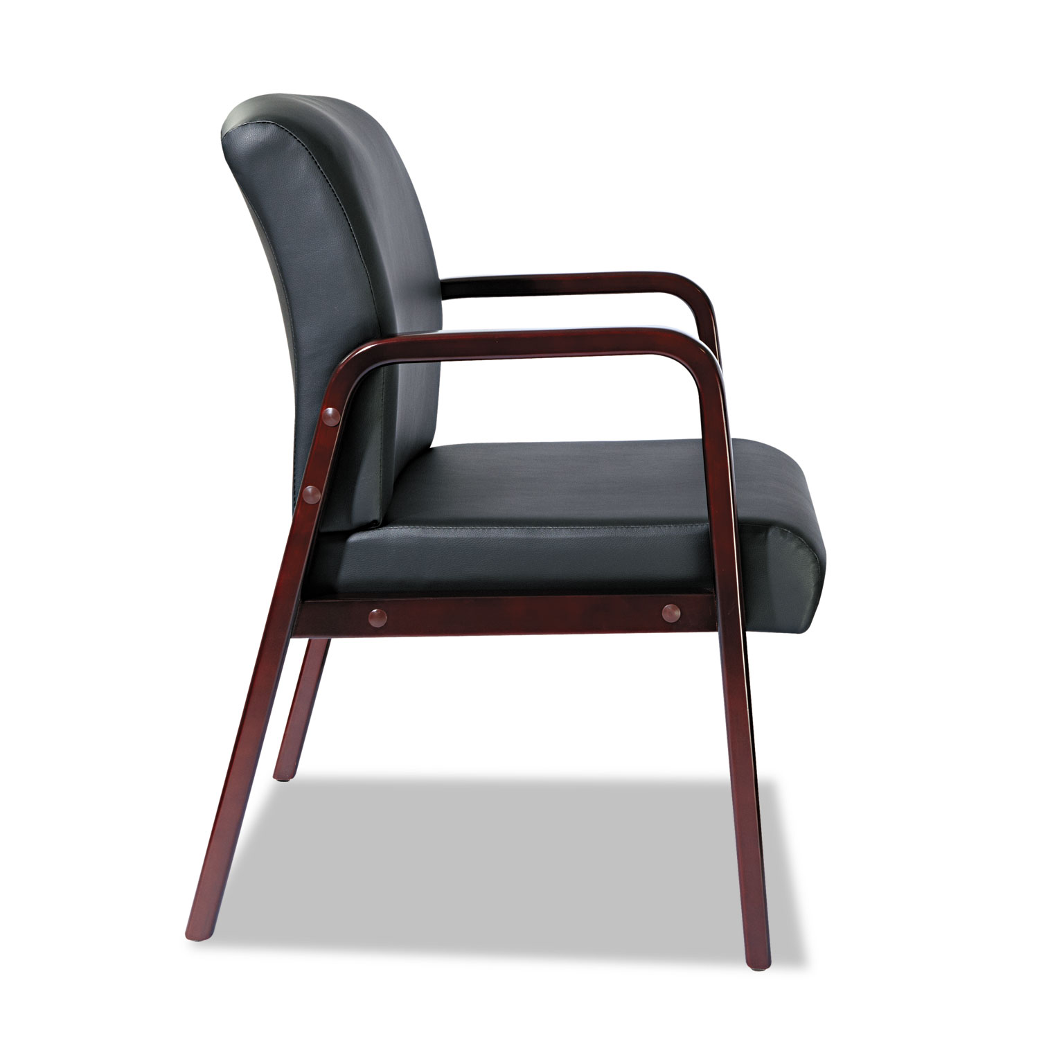 Alera Reception Lounge Series Guest Chair, Mahogany/Black Leather