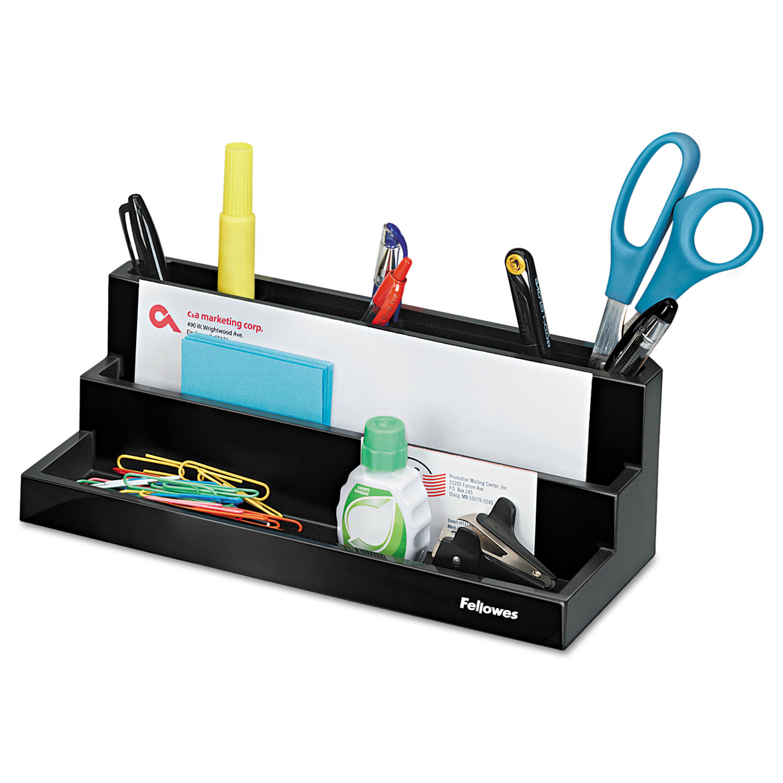 Designer Suites Desktop Organizer, 11 1/8 x 5 x 3 7/8, Black Pearl