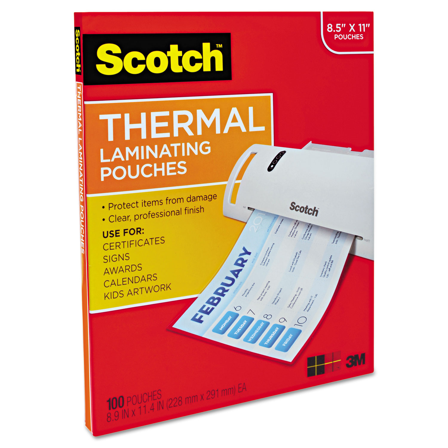 Letter Size Thermal Laminating Pouches By Scotch