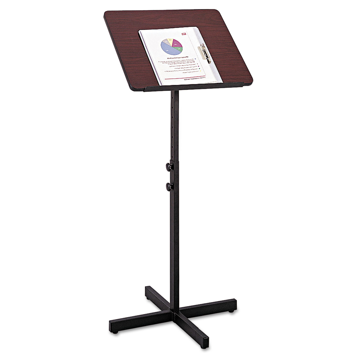 Adjustable Speaker Stand, 21w x 21d x 29.5h to 46h, Mahogany/Black