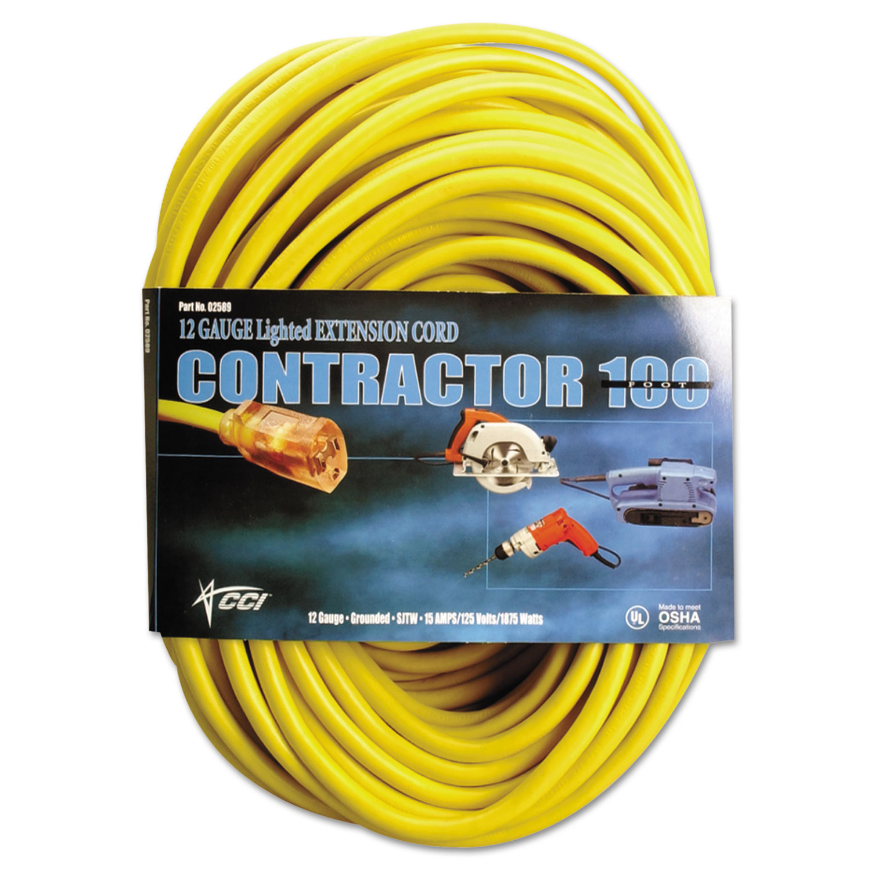 Vinyl Outdoor Extension Cord, 100 Ft, 15 Amp, Yellow