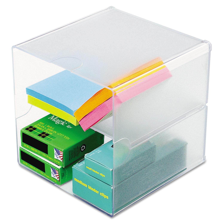 deflecto® Desk Cube, Divided, Clear, 6 x 6 x 6