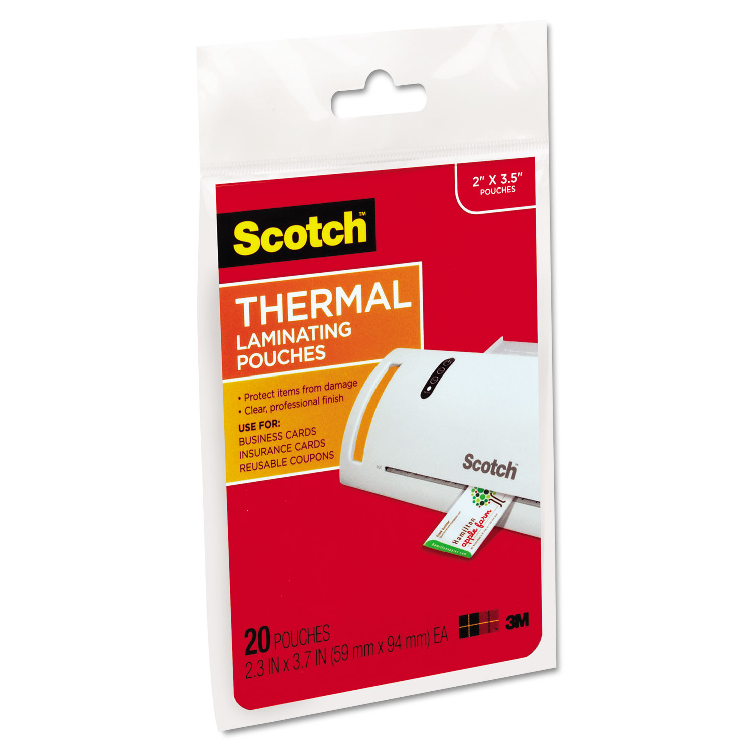 Business Card Size Thermal Laminating Pouches by Scotch™ MMMTP585120 ...