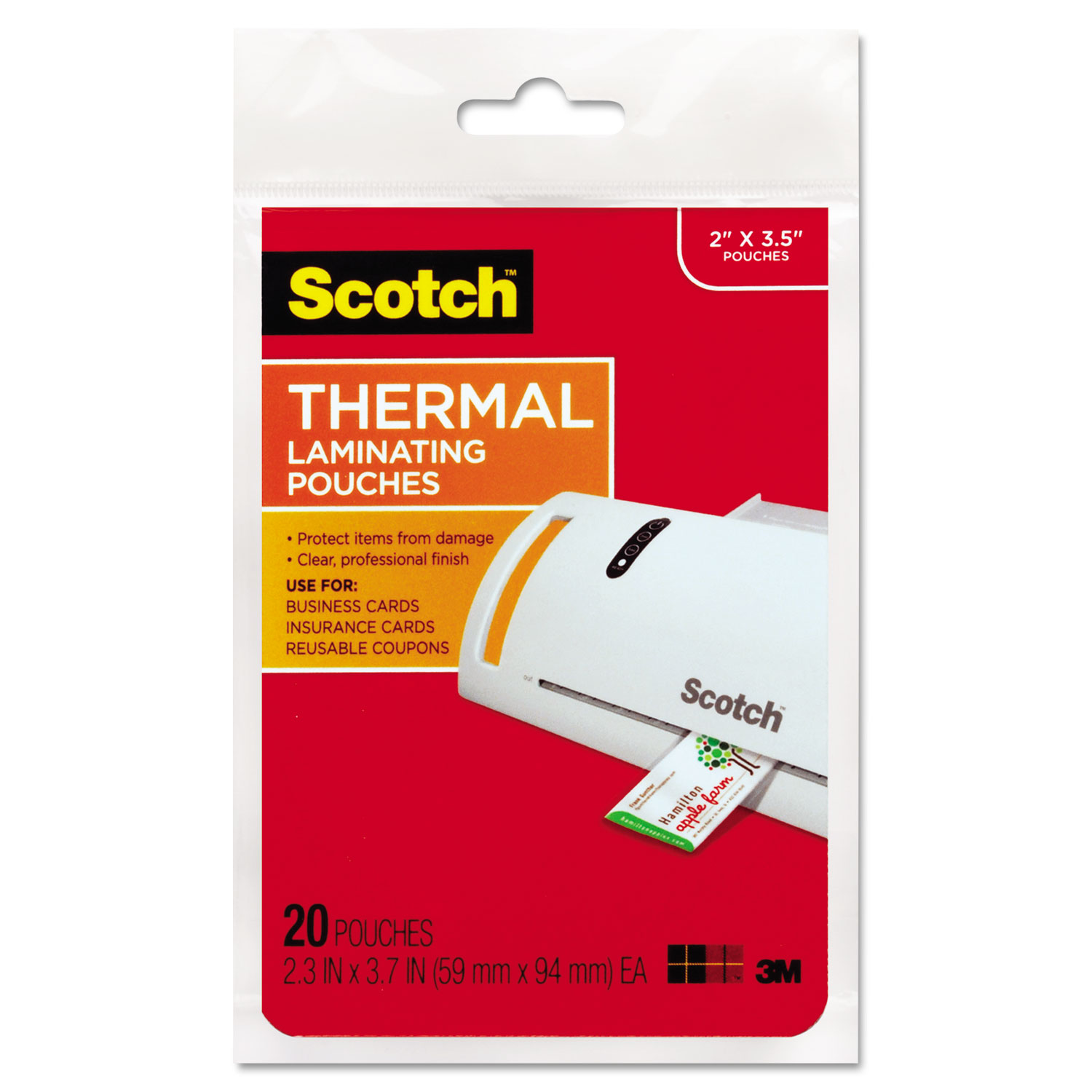 """Laminating Pouches, 5 mil, 3.75"""" x 2.38"""", Gloss Clear, 20/Pack"""