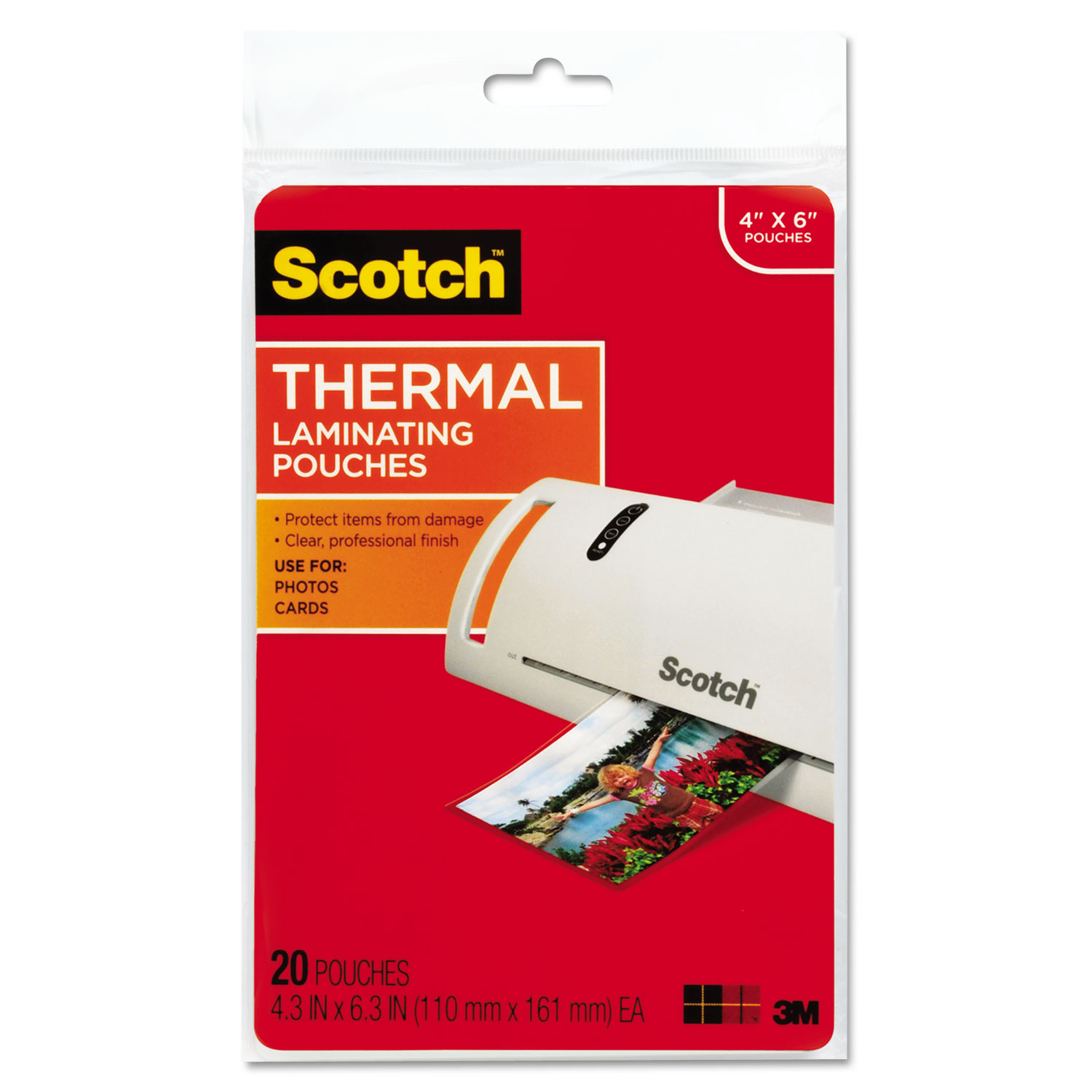 """Laminating Pouches, 5 mil, 4.33"""" x 6.33"""", Gloss Clear, 20/Pack"""