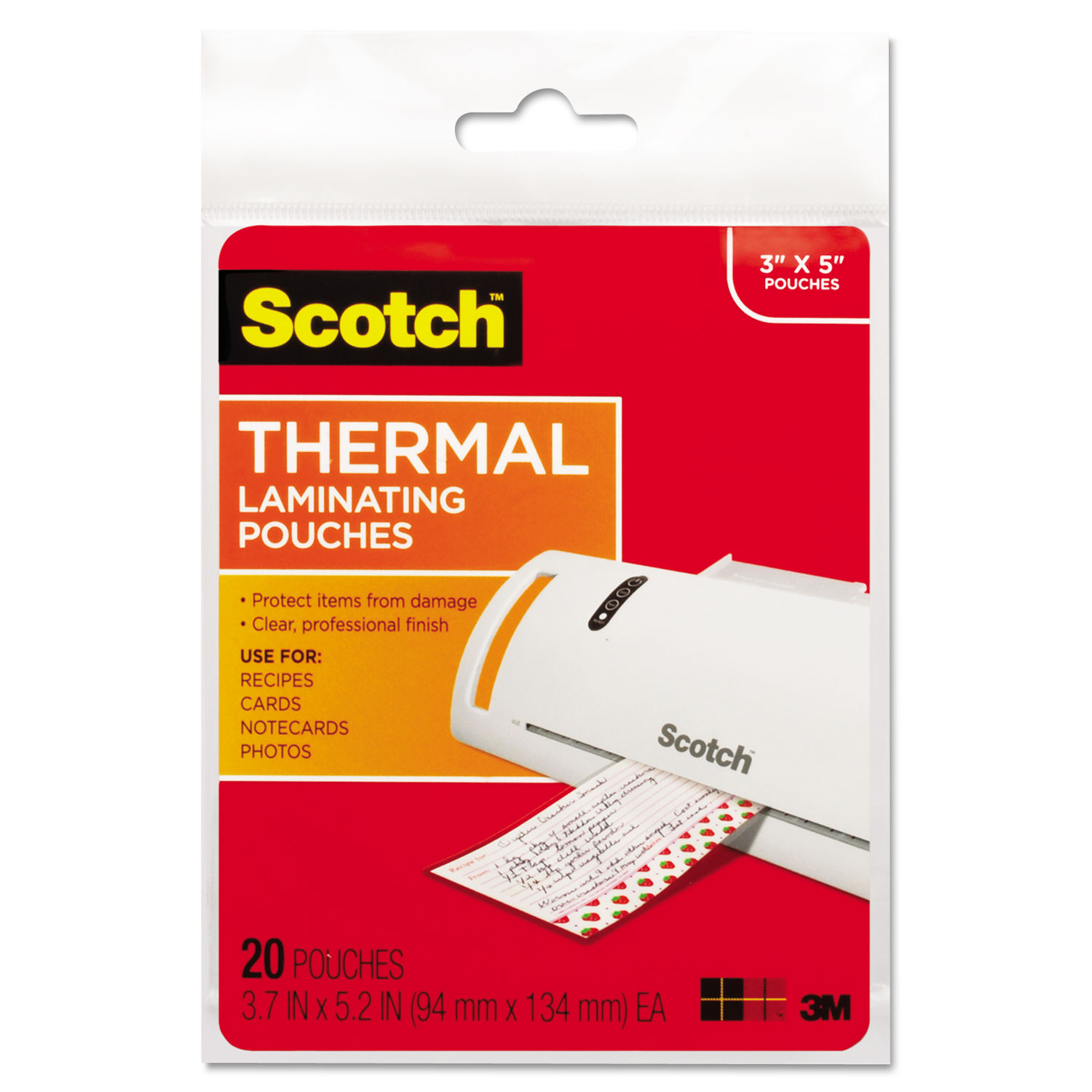 """Laminating Pouches, 5 mil, 5.38"""" x 3.75"""", Gloss Clear, 20/Pack"""