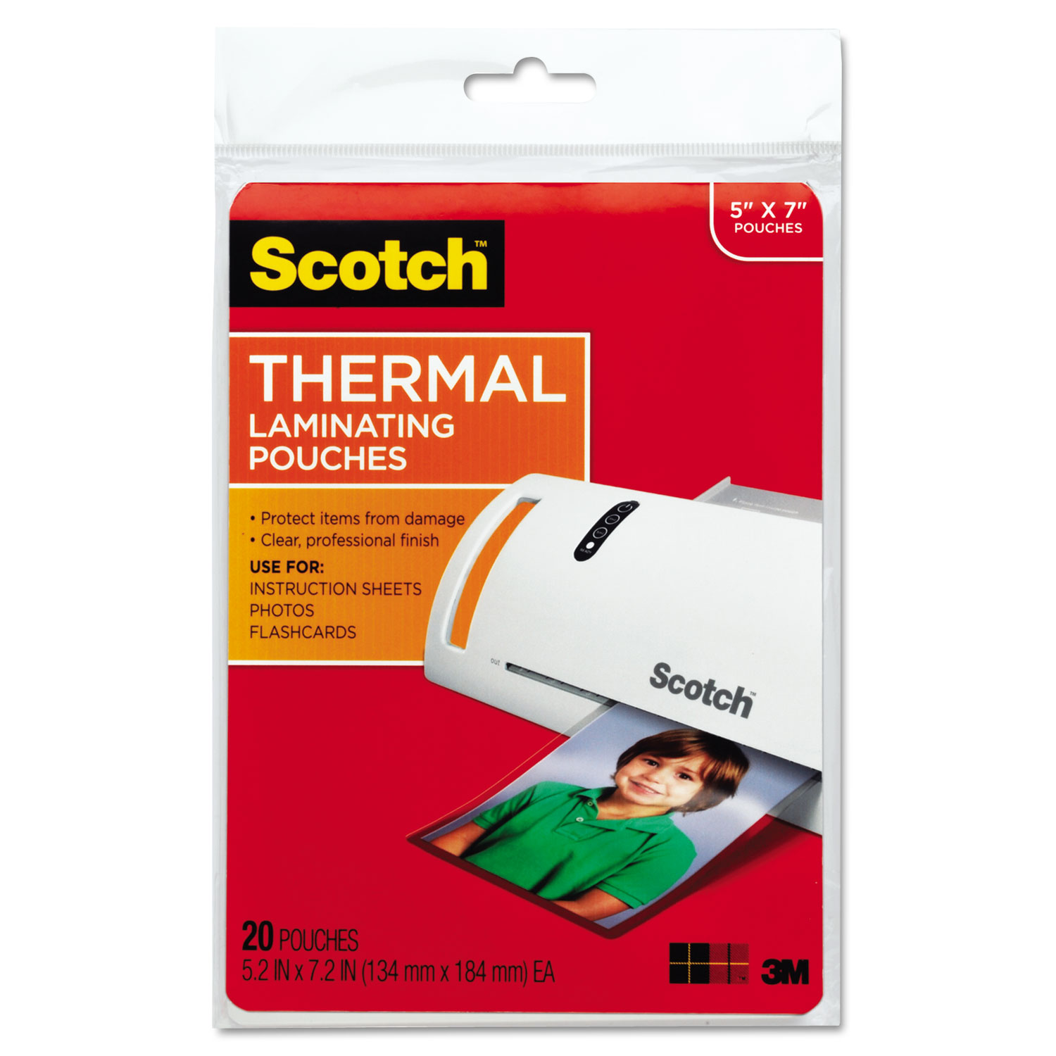 """Laminating Pouches, 5 mil, 5"""" x 7"""", Gloss Clear, 20/Pack"""