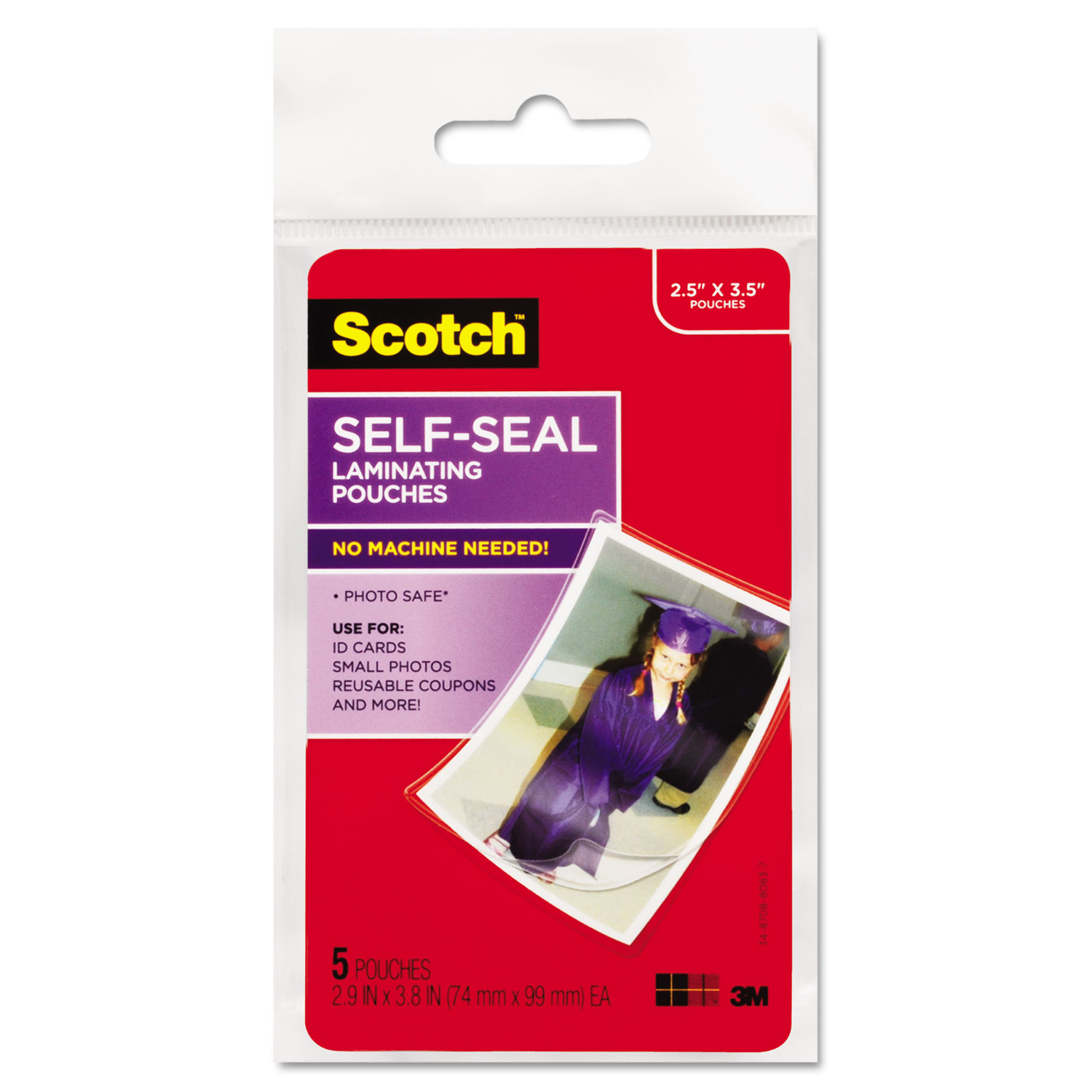 """Self-Sealing Laminating Pouches, 9.5 mil, 2.81"""" x 3.75"""", Gloss Clear, 5/Pack"""