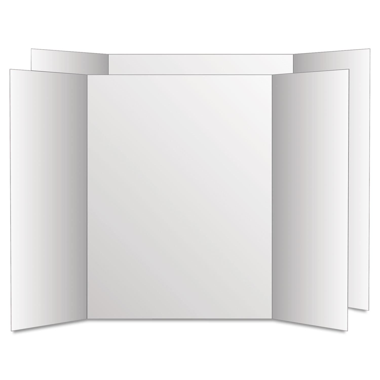 Too Cool Tri-Fold Poster Board, 28 x 40, White/White, 12/Carton