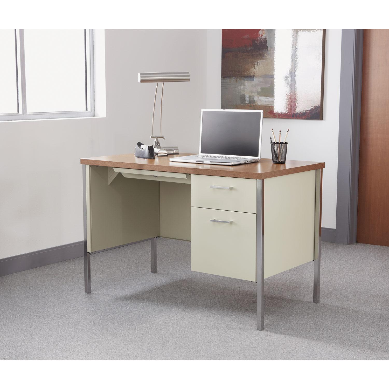 Single Pedestal Steel Desk Metal 45 1 4w X 24d 29 2h Cherry Putty