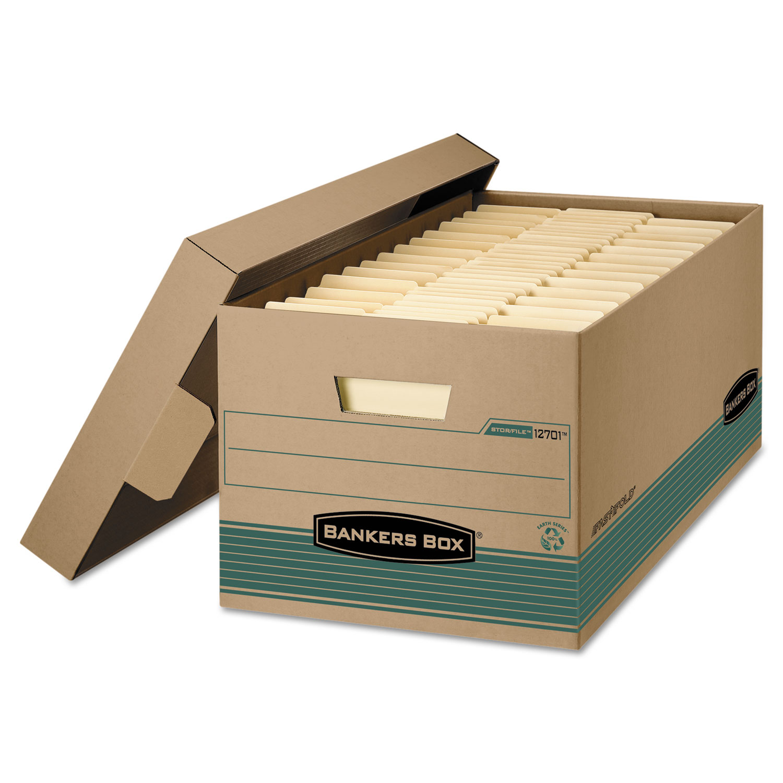 STOR/FILE Storage Box, Legal, Locking Lift-off Lid, Kraft/Green, 12/Carton
