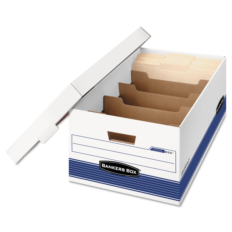 STOR/FILE Extra Strength Storage Box, Legal, Locking Lid, White/Blue, 12/Carton