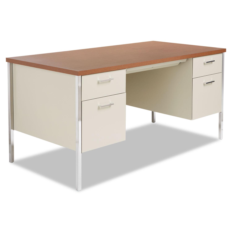 Alera Double Pedestal Steel Desk Metal 60w X 30d 29 1 2h Cherry Putty
