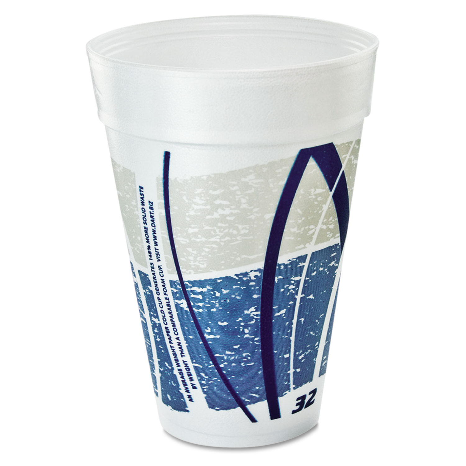 Impulse Hot/Cold Foam Drinking Cups, 32oz , Printed, Blue/Gray, 25/Bag,  20/CT