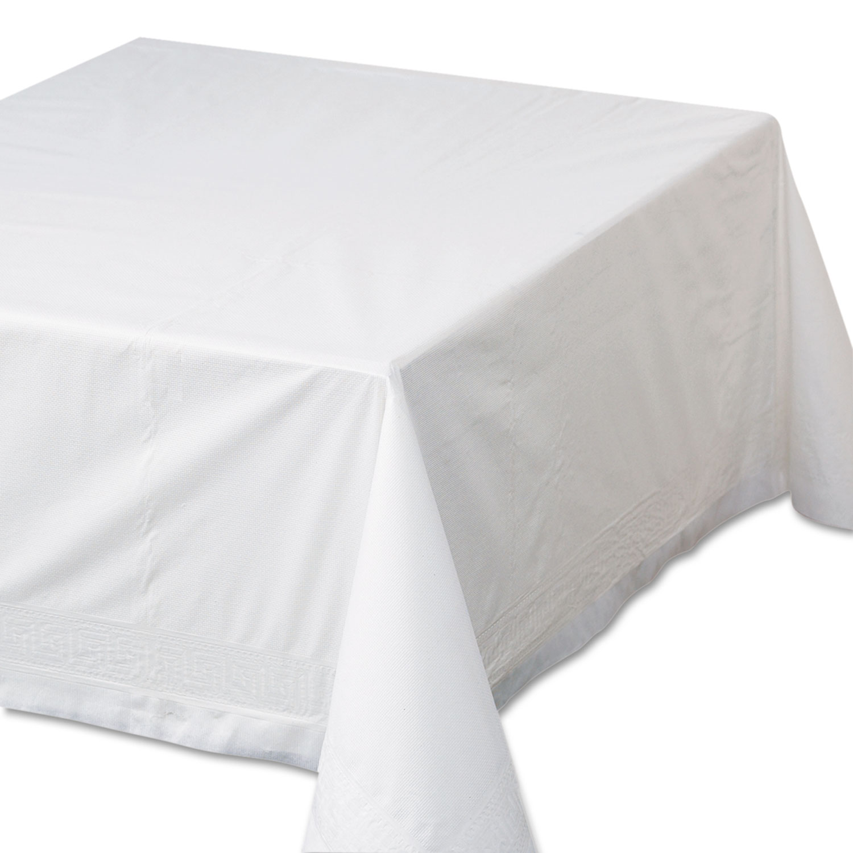 "Tissue/Poly Tablecovers, 72"" x 72"", White, 25/Carton"