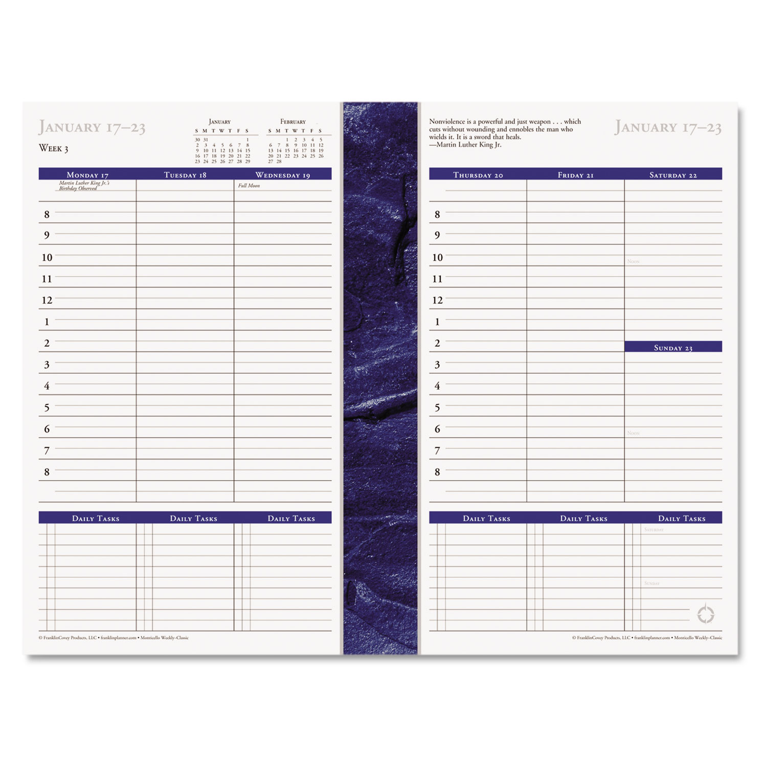 Monticello Dated Weekly/Monthly Planner Refill by FranklinCovey ...