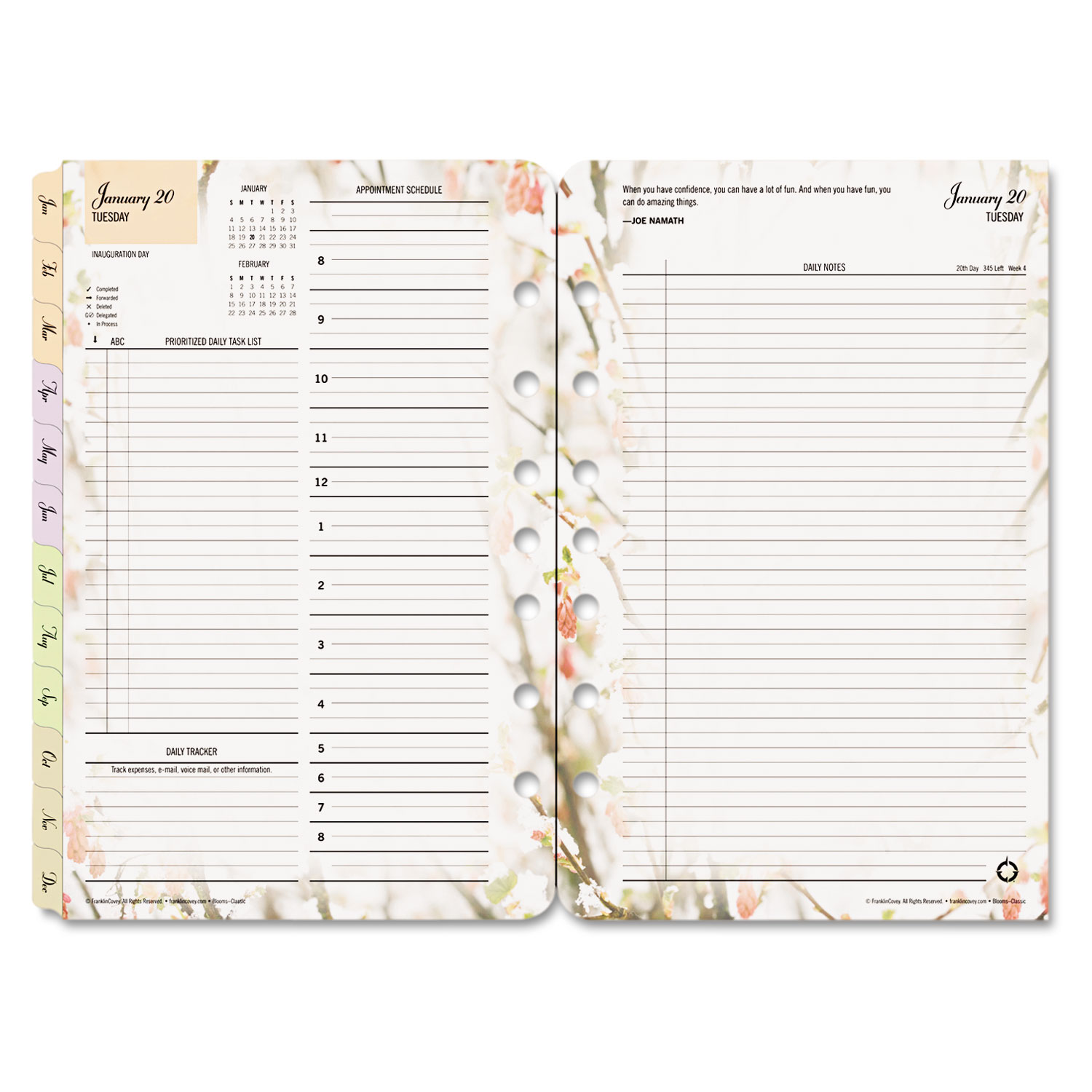 Blooms Dated Daily Planner Refill By FranklinCoveyR FDP3544