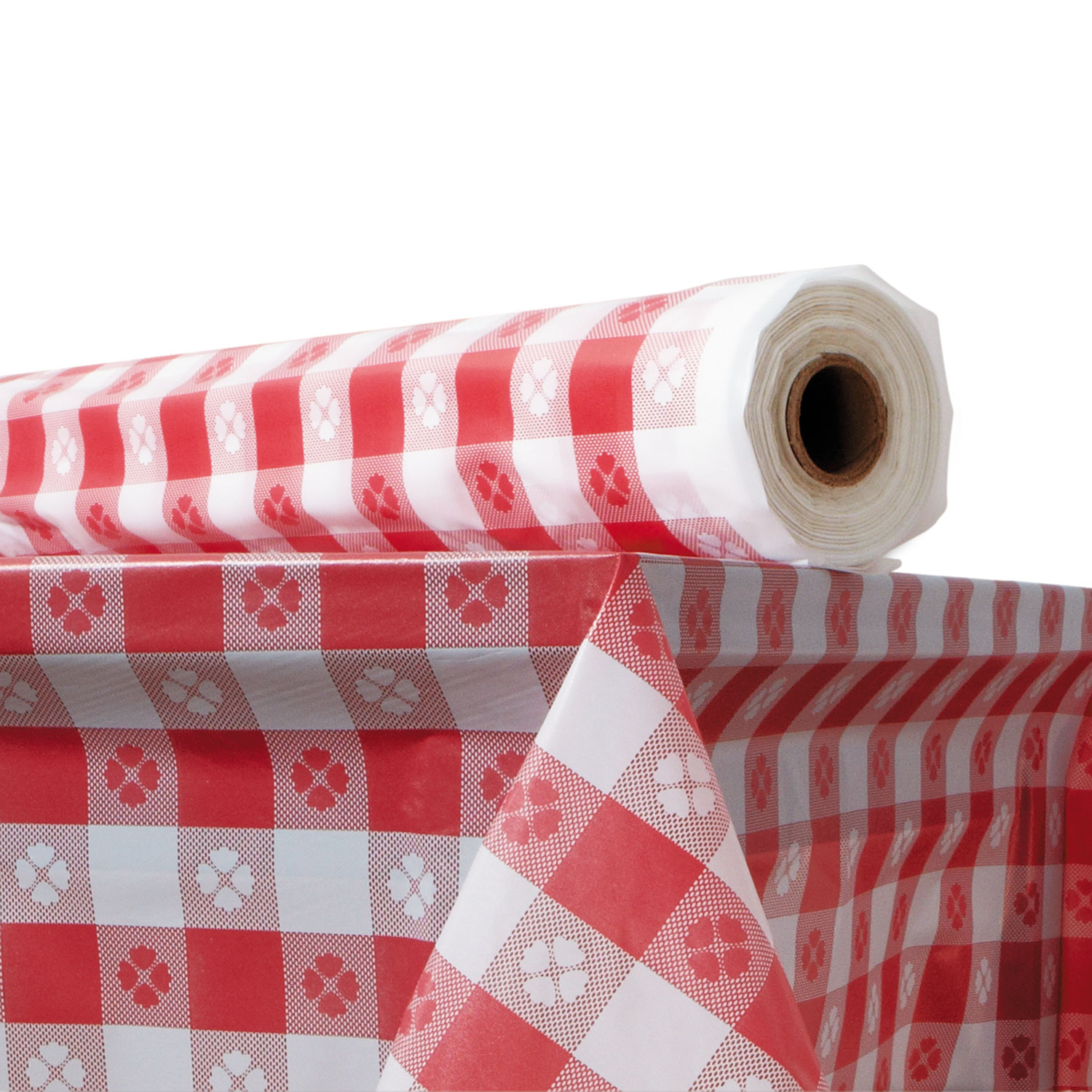 """Plastic Table Cover, 40"""" x 300 ft Roll, Red Gingham"""