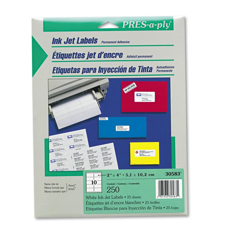 Labels, Inkjet/Laser Printers, 2 x 4, White, 10/Sheet, 25 Sheets/Pack