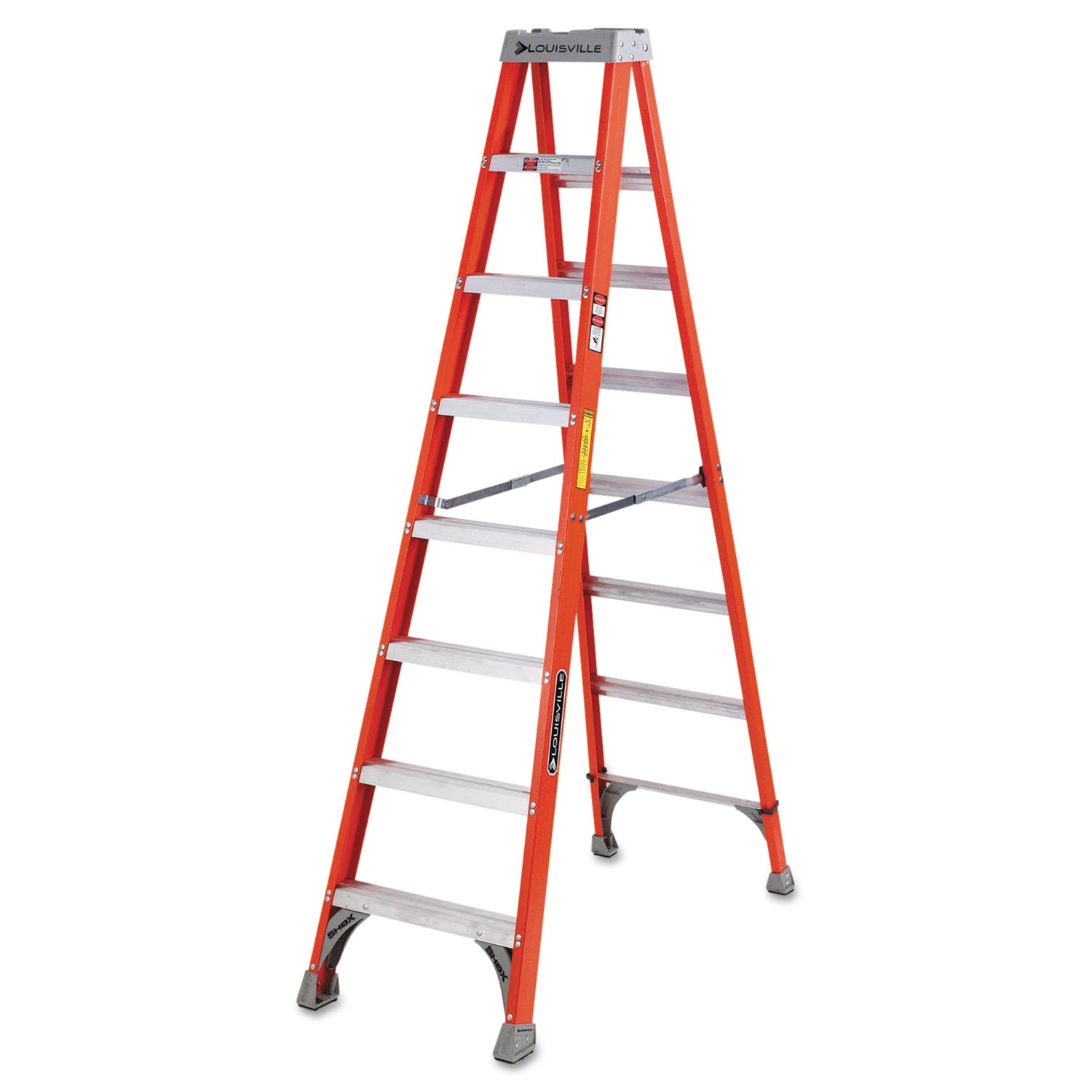 FS1500 Series Fiberglass Step Ladder, 8 ft, 5-Step, Red
