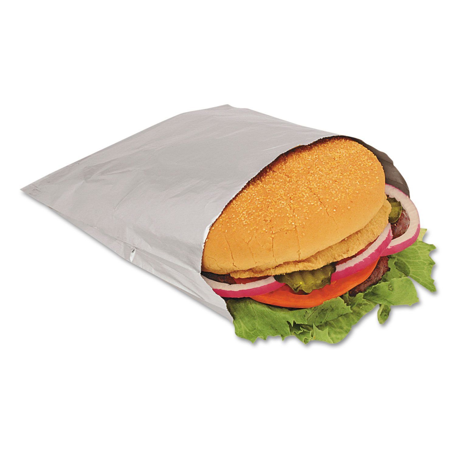 "Foil Single-Serve Bags, 6"" x 6.5"", Silver, 1,000/Carton"