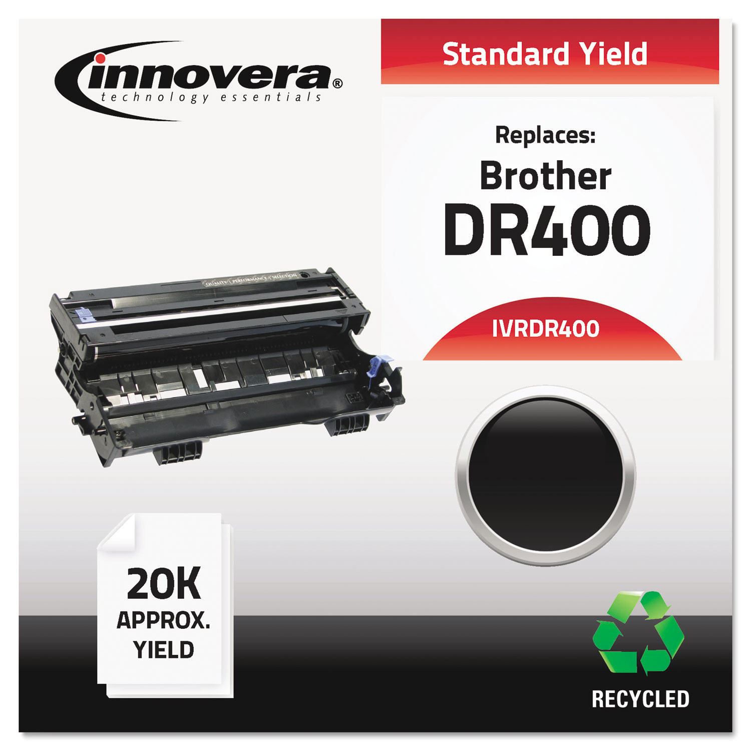 Remanufactured DR400 Drum Unit, 20000 Page-Yield, Black