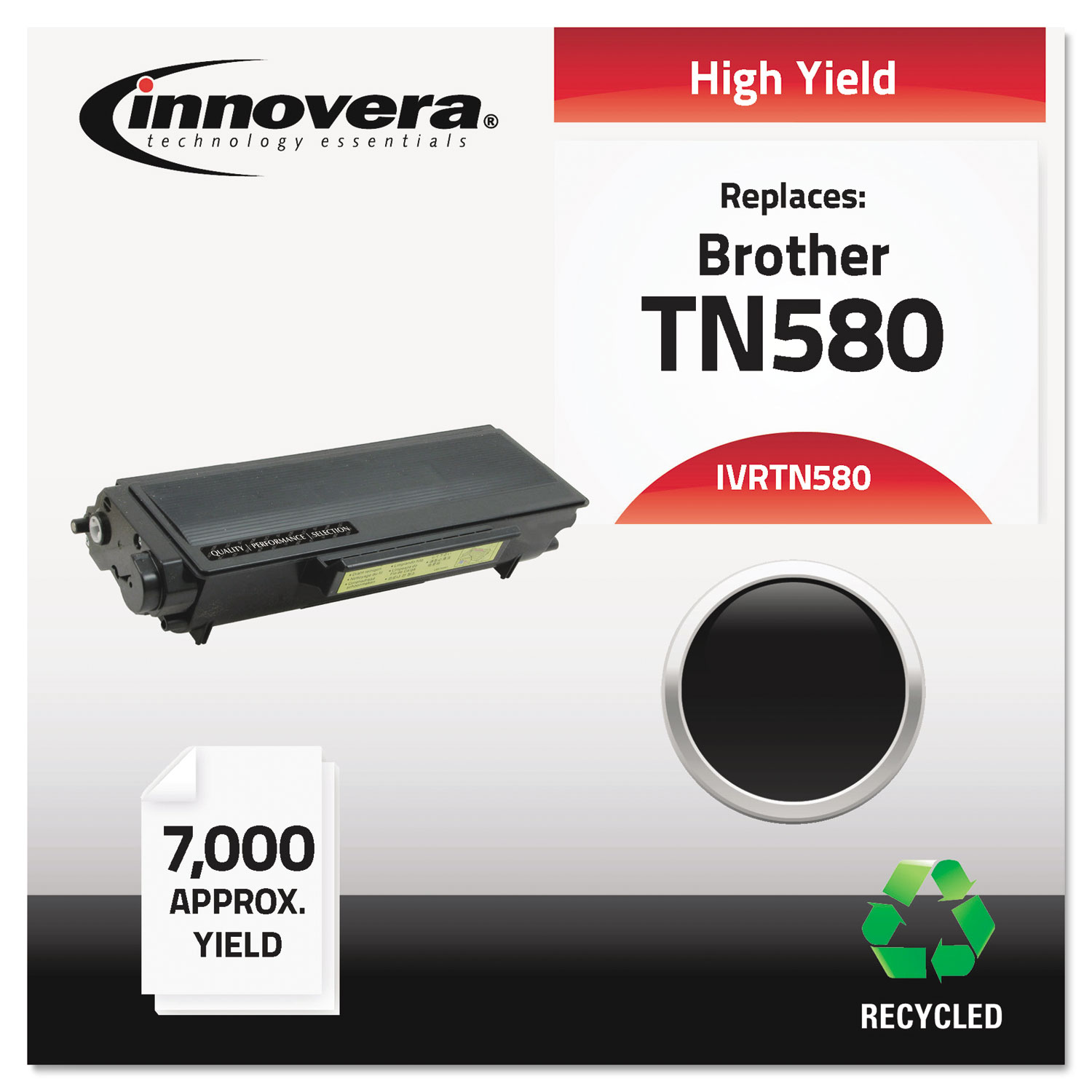 Remanufactured TN580 High-Yield Toner, 7000 Page-Yield, Black