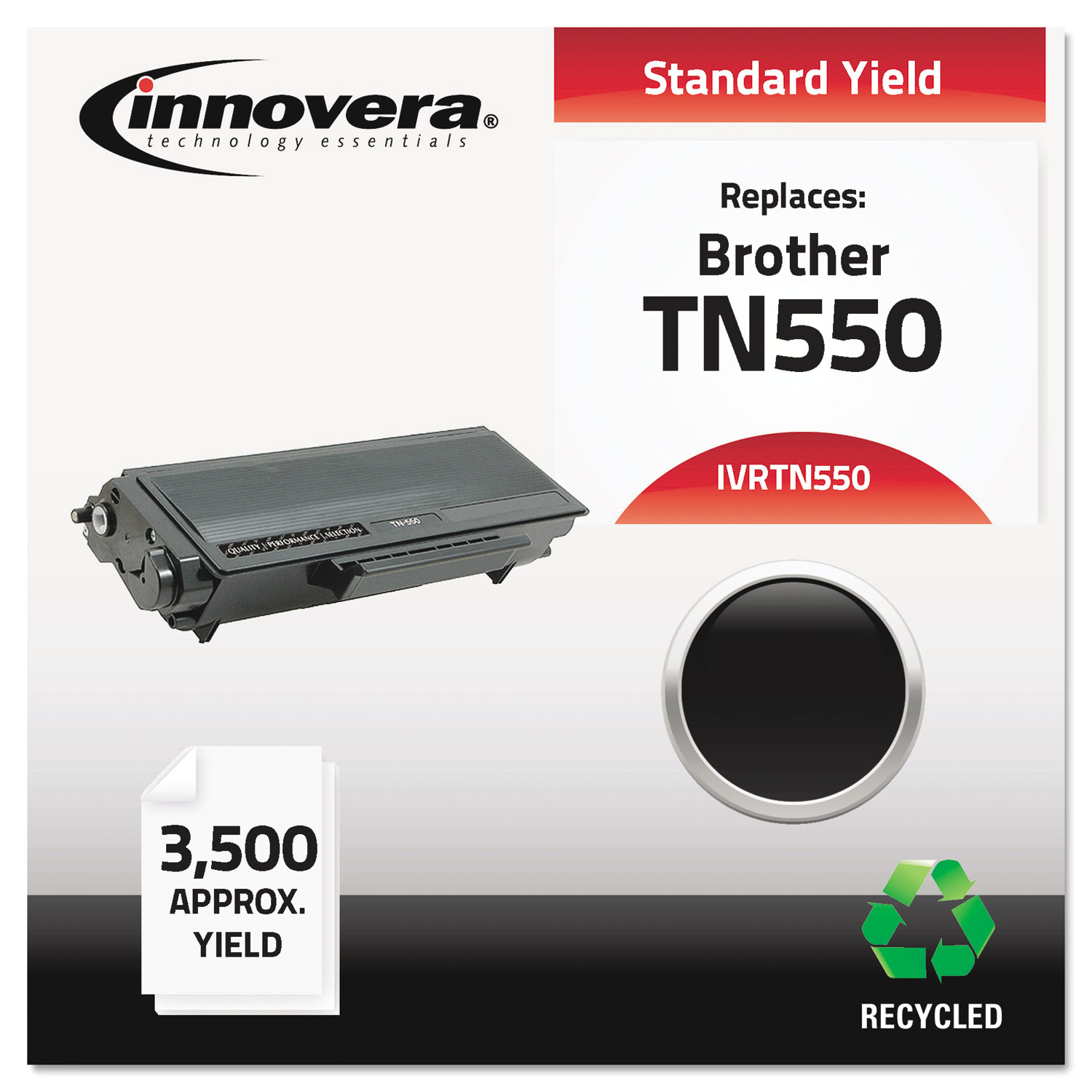 Remanufactured TN550 Toner, 3500 Page-Yield, Black