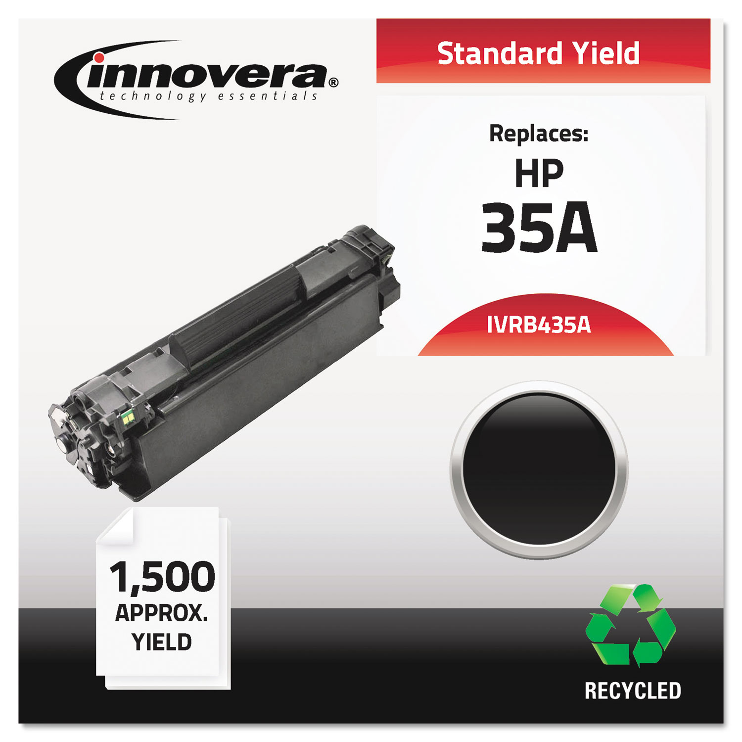 Remanufactured CB435A (35A) Toner, 1500 Page-Yield, Black