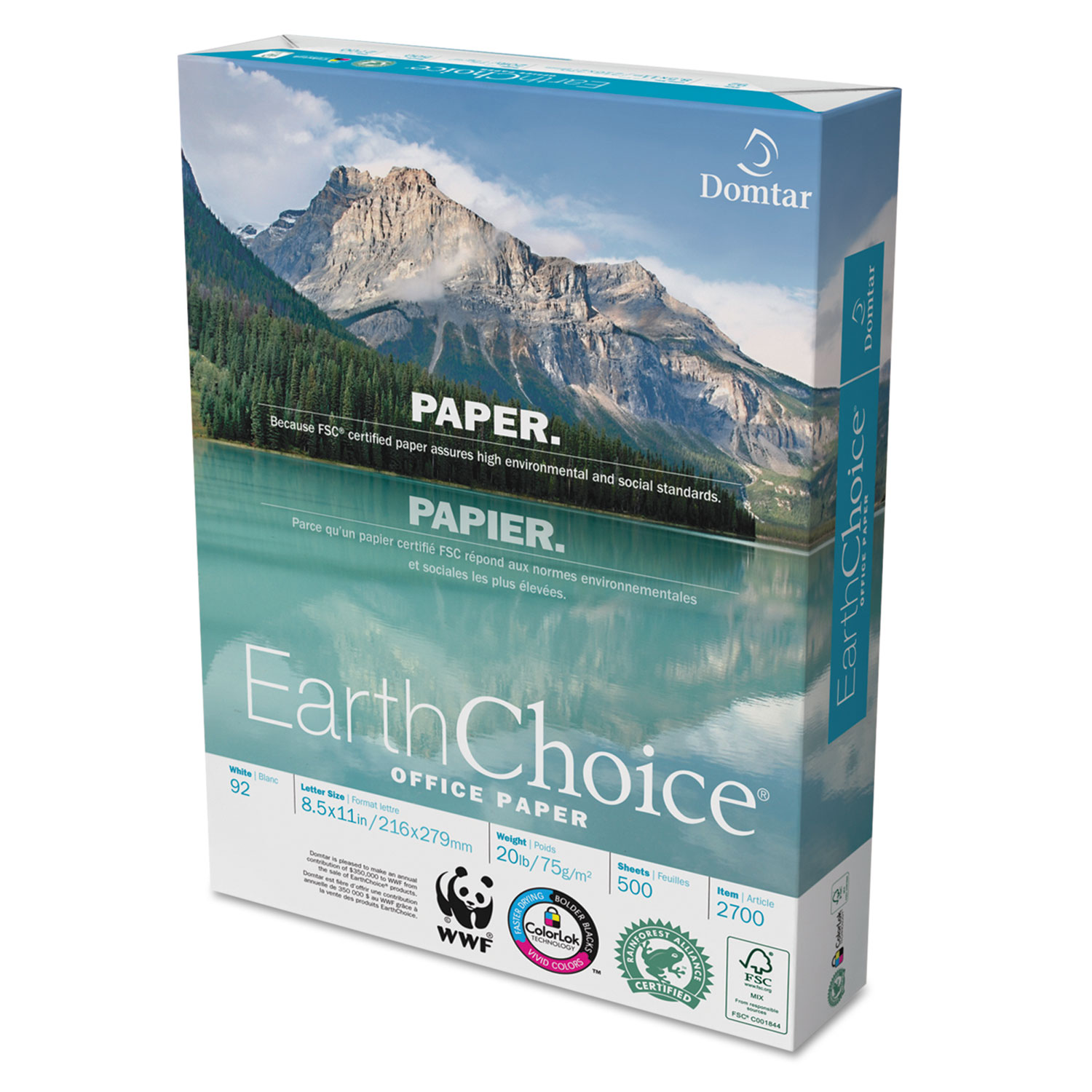 EarthChoice Office Paper 92 Bright 20lb 8 1 2 X 11 White 5000 CT