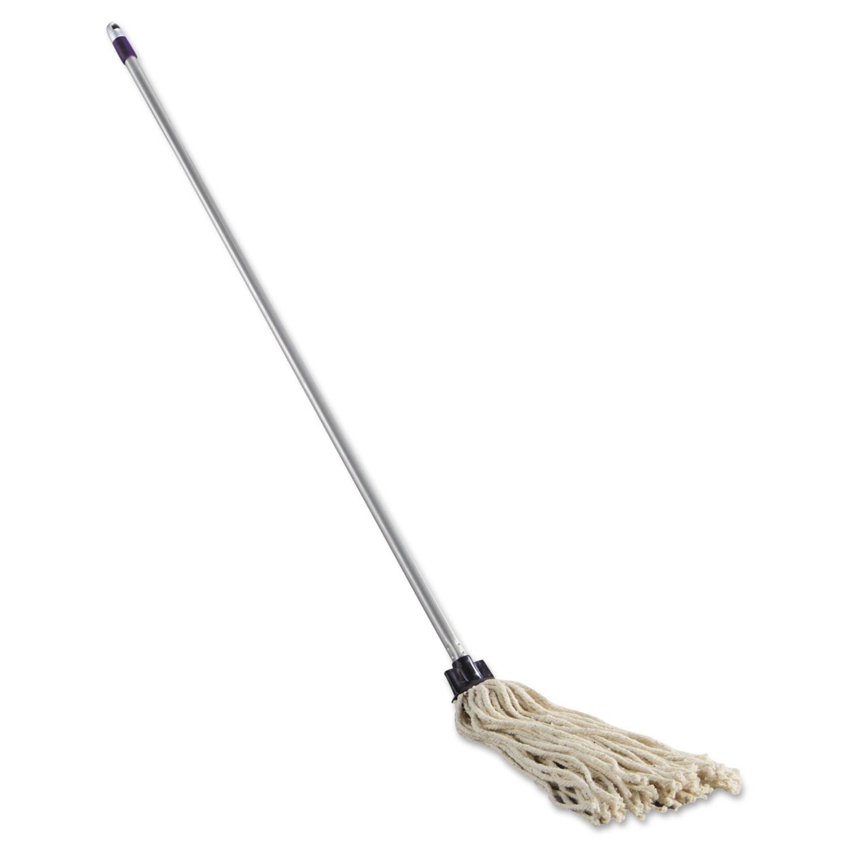 Cotton Mop/Handle Combination, 46-Inch Handle, 8 Oz White Mop Head, 4/Carton