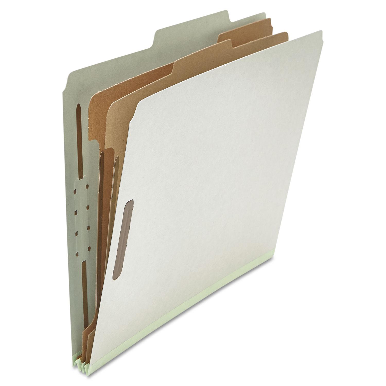 Six--Section Pressboard Classification Folders, 2 Dividers, Letter Size, Gray, 10/Box