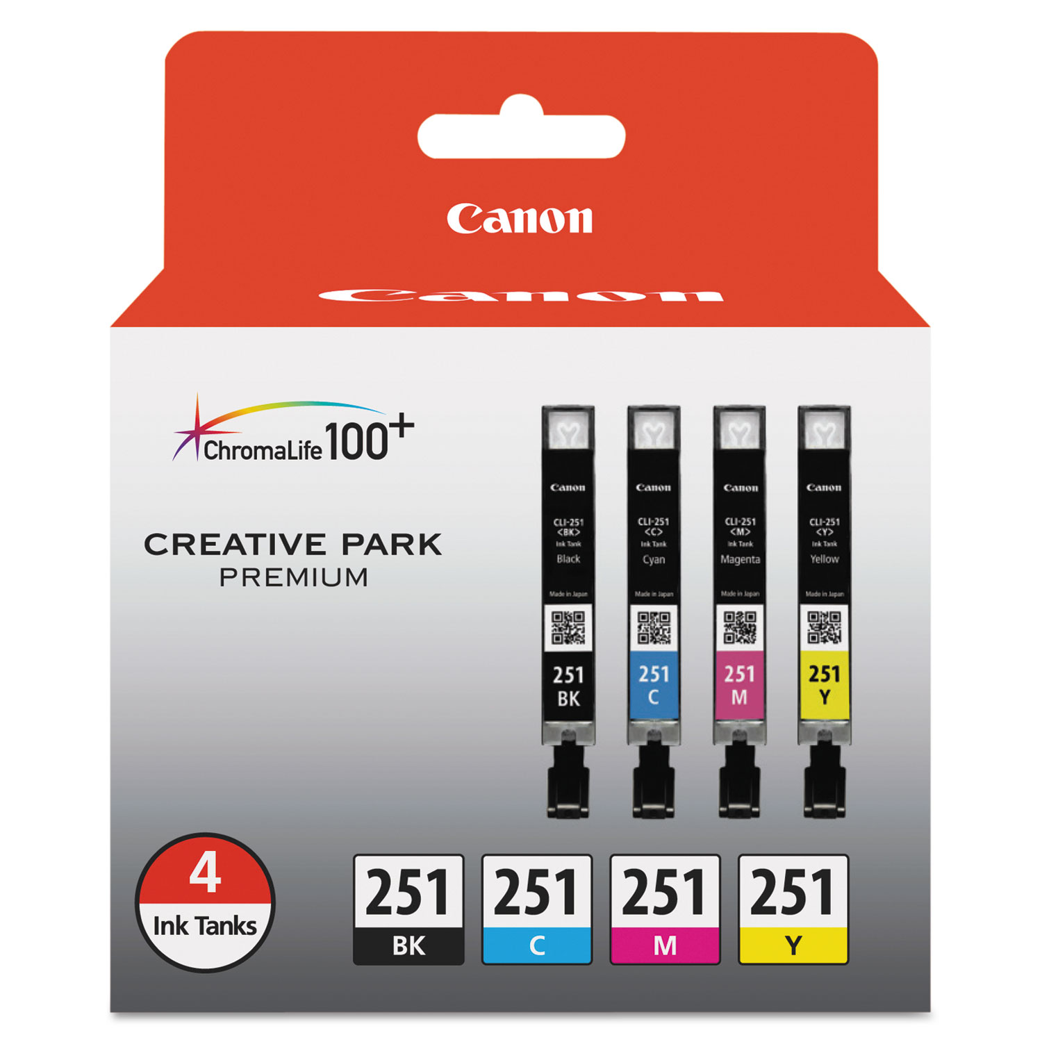 6513B004 (CLI-251) ChromaLife100+ Ink, Black/Cyan/Magenta/Yellow, 4/PK