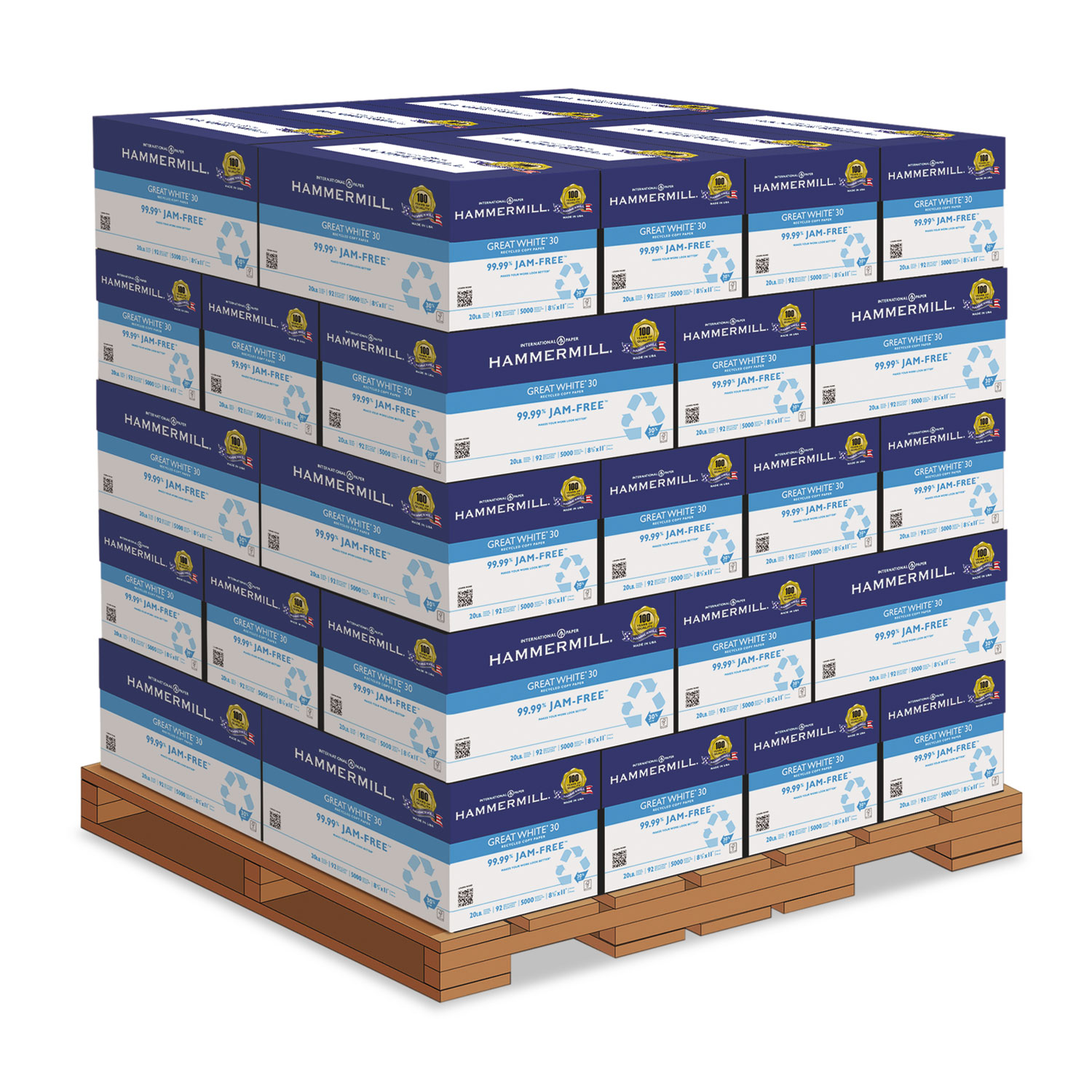 Great White 30 Recycled Print Paper, 92 Bright, 20lb, 8.5 x 11, White, 500 Sheets/Ream, 10 Reams/Carton, 40 Cartons/Pallet