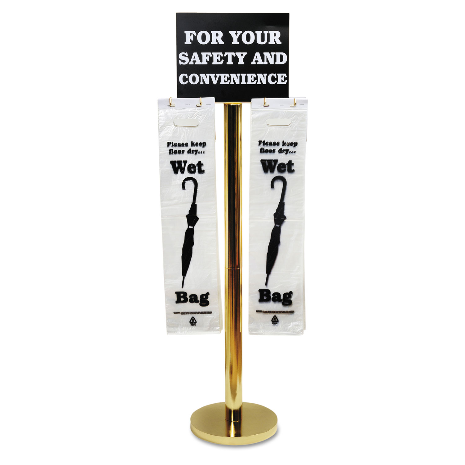 Wet Umbrella Bag Stand, 16w x 12d x 54.5h, Brass/Black/White