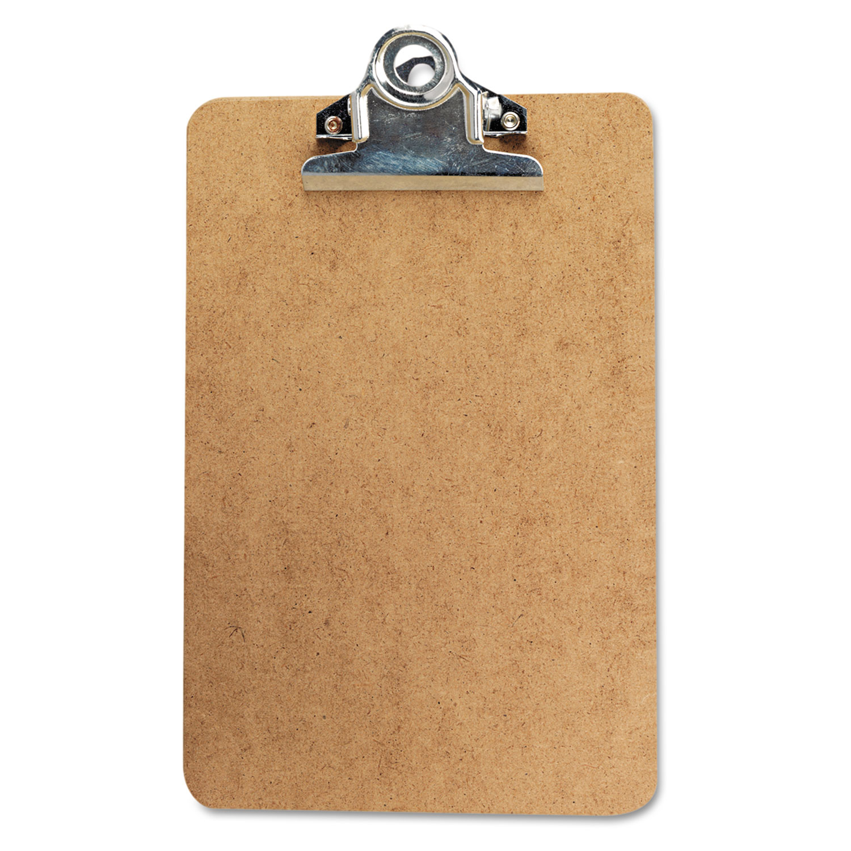 "Hardboard Clipboard, 3/4"" Capacity, Holds 5w x 8h, Brown"