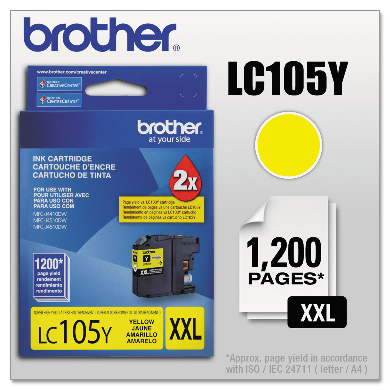LC105Y Innobella Super High-Yield Ink, 1200 Page-Yield, Yellow