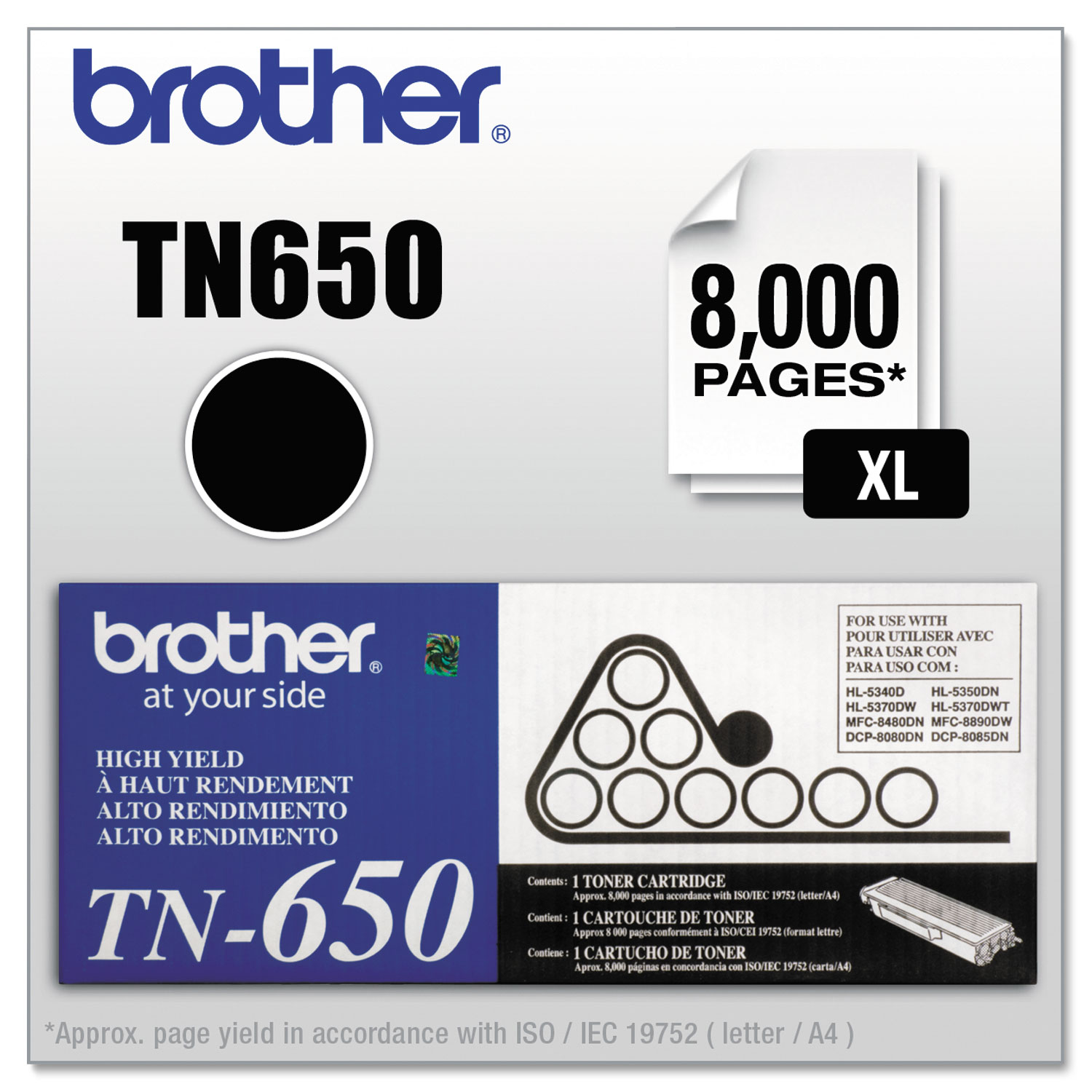 TN650 High-Yield Toner, 8000 Page-Yield, Black