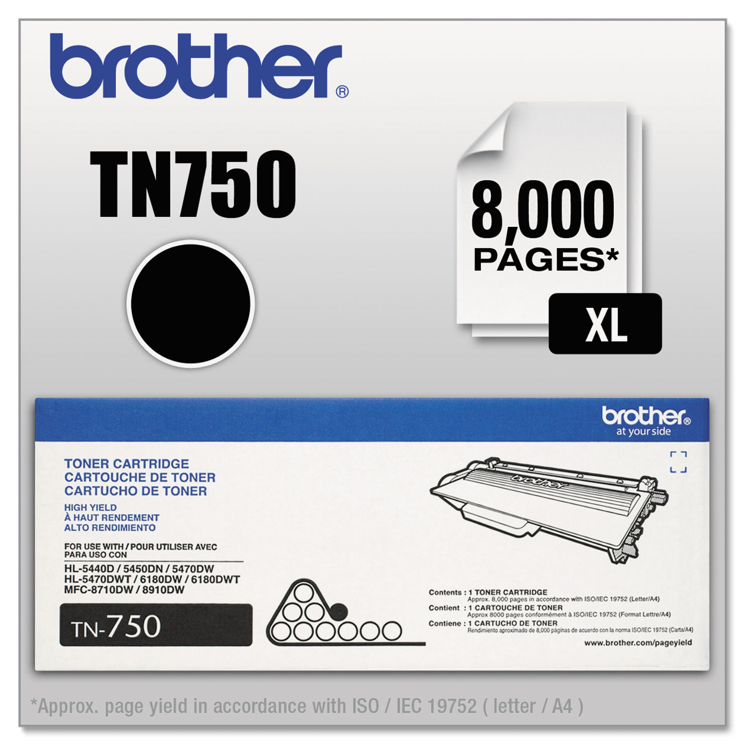 TN750 High-Yield Toner, 8000 Page-Yield, Black