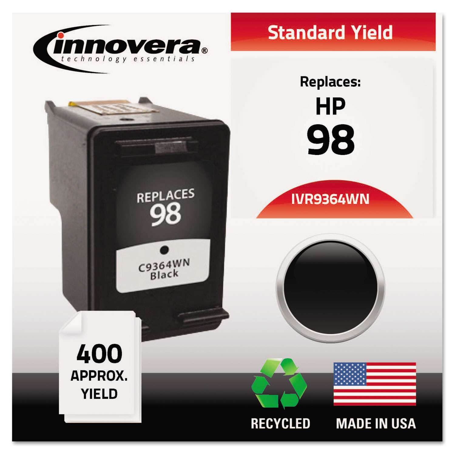 Remanufactured C9364A (98) High-Yield Ink, 400 Page-Yield, Black