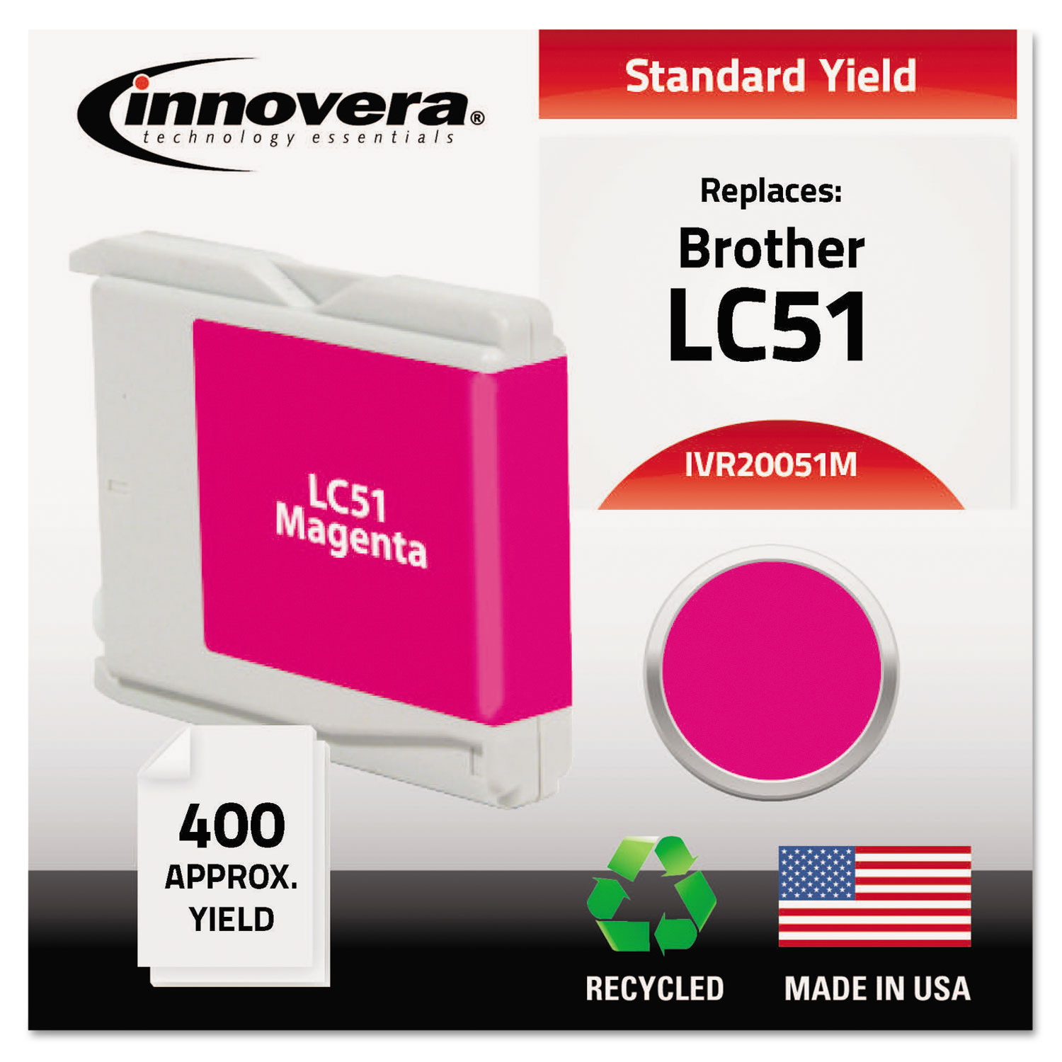 Remanufactured LC51M Ink, 400 Page-Yield, Magenta